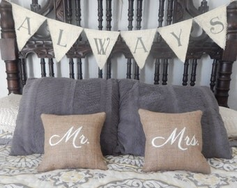 Two Mini Mr. & Mrs. Square Burlap Pillows Anniversary Wedding Decorative Pillows Burlap Throw Pillow Gift Home Decor