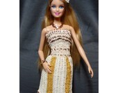 Ivory and gold hand crochet Barbie outfit - one of a kind couture