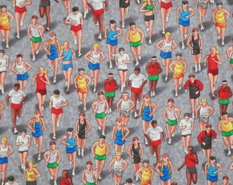 Colorful Marathon Runners Print Pure Cotton Fabric--One Yard