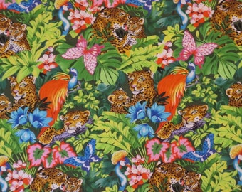 Jungle Leopard Print Pure Cotton Fabric--One Yard