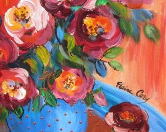 Still Life Mini Original Painting 12 x 12 Art by Elaine Cory