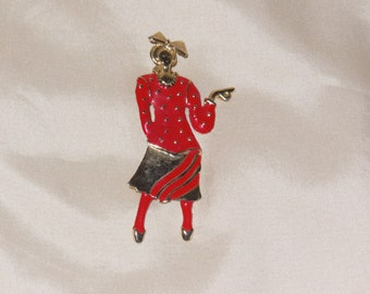 Brooch Pin Girl in Red