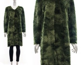 Vintage 90s minimalist shag duster coat OMBRE Olive GREEN cardigan jumper Super Shag Faux Fur sweater Duster Coat one size os