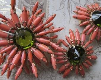 Stunning Vintage Schreiner Brooch, Schreiner Ruffle Brooch, Spider Mum Ruffle, Schreiner Jewelry, Couture, Elegant Estate, Earrings