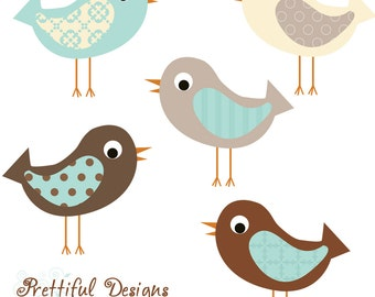 Baby Boy Bird Clip Art Blue Brown Pattern Bird Clipart Instant Download Charlie
