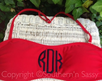 Small Red Monogrammed Bandeau Swimtop