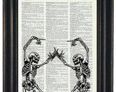 BOGO SALE Two Skeletons Art Prints Dictionary Art Wall Decor Dictonary Prints