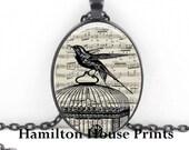 Bird and Cage Sheet Music Art Print Pendant Music Necklace Oval Pendant Necklace Bird Cage Necklace