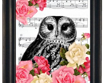 BOGO 1/2 OFF  Dictionary Art Prints Sheet Music Owl with Flowers A HHP Original Concept and Design Steampunk Print