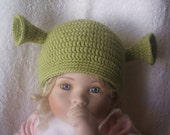 Newborn to 6 months size. Hand crocheted green ogre shrek beanie, made to order.