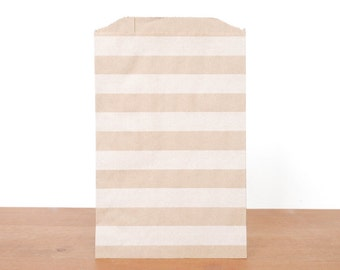 goody bags treat bags: 10 kraft gift bags, kraft and white stripes, favor bags