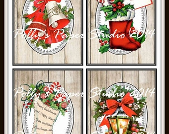 Woodgrain Retro Christmas Images Collage Digital Images printable download file
