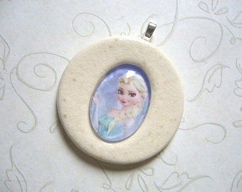 Elsa From Frozen Ceramic and Glass Pendant