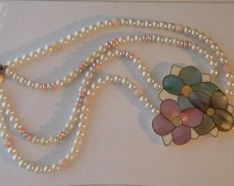 KARLA JORDAN flower Mother of Pearl inlay necklace.
