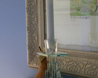 Art Deco Glass Candle Holder