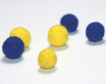 Needle Felted Balls: Set of 6 in blue and yellow