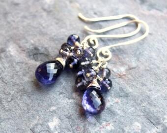 Iolite Cluster Earrings Blue Gemstone Earrings Sterling Silver Teardrops Beaded Earrings