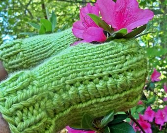 Lime Green Chunky Fingerless Gloves for Small - Medium Size Hands - Winter to Spring Gloves
