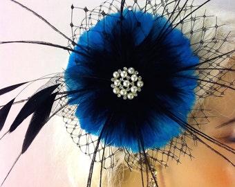 Wedding Hair Clip, Wedding flower Fascinator, Wedding Hair Flower, Bridesmaid Fascinator, Bridal Headpiece, 1920s Headpiece,Teal Blue