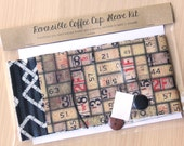 DIY Coffee Cup Sleeve Sewing Kit -Tape Measures and Pipes - Ready to Ship