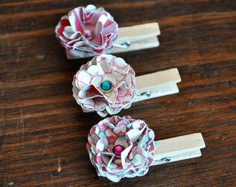 Medium Paper Flower Altered Clothespins with Swarovski Crystal Element Centers Set of 3