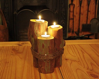 Candle Holders Logs With Rope