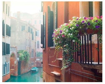 Flowered Balcony, Venice Photography, Wall Art, Fine Art Print, Home Decor