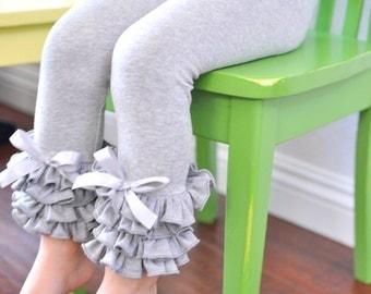 Heather Grey Leggings with Full Ruffles / Girls Leggings---5-12