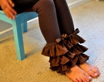 Chocolate Brown Leggings with Large Triple Ruffles / Young Girls Leggings---5-12