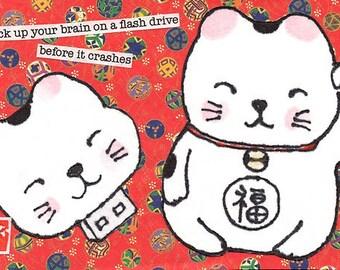 Back-up Memory Etegami Lucky Cat (instant digital download version)