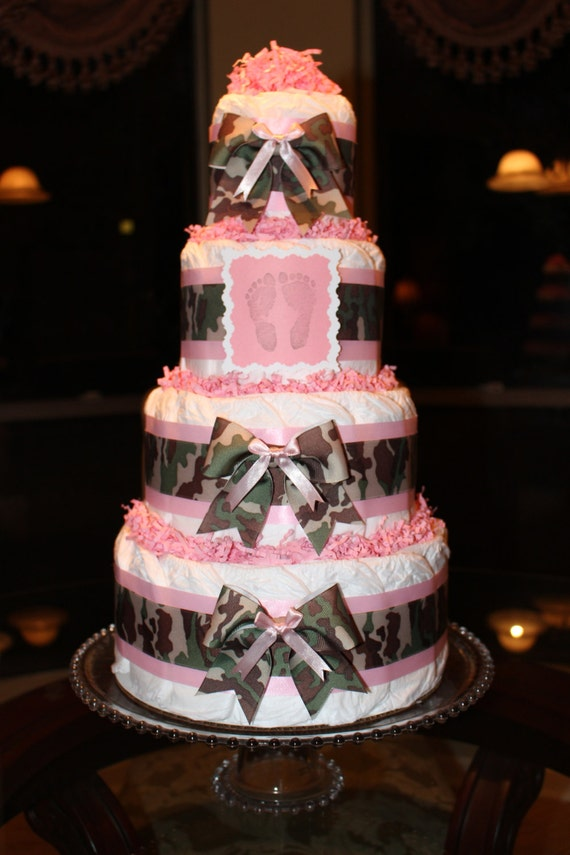 Camo Diaper Cake Decorations : Items similar to Four Tier Camouflage (Camo) & Pink ...