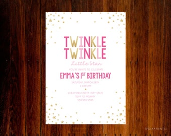 set of 12 - Twinkle Twinkle Little Star Birthday invitations
