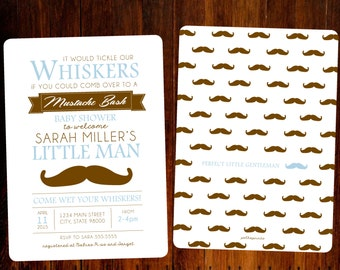 Set of 15 - Mustache Bash Baby Shower Invitations
