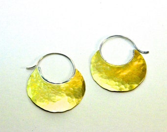 Tribal style Nugold disc hoops