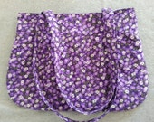 Purple Floral Pleated Shoulder Bag