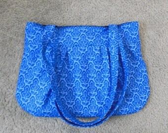 Blue Floral Pleated Shoulder Bag