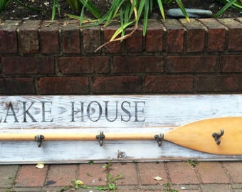 "Paddle Hook Coat Rack House Oar Sign 60"" BEACH or LAKE HOUSE Decor by CastawaysHall"