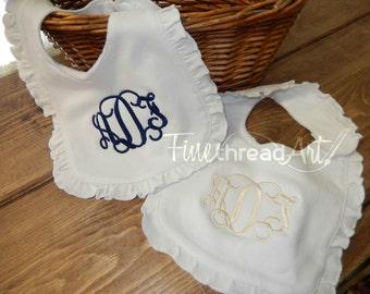 Monogram Ruffle Bib in White for Infant Baby Girl Shower Gift Baptism Dedication Gender Reveal