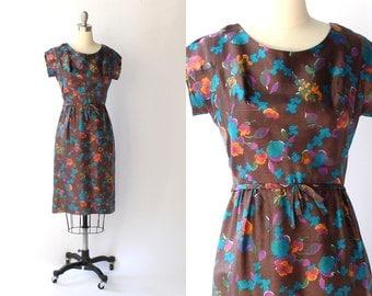 1950s Floral Silk Dress // 50s Vintage Cap Sleeve Knee Length Sheath Dress // Small