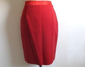 Vintage 1980s MONDI Skirt Red Wool Straight Pencil Dress Skirt Small 5/6