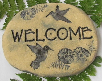 Hummingbird Garden decoration. WELCOME plaque for outdoors. Natural organic Terracotta pottery. Arts and crafts style. Heavy and durable.