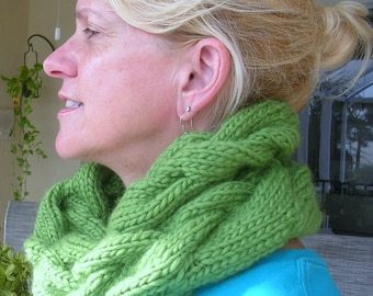 Bulky Cabled Cowl in Burgundy or Pistachio Green Roving