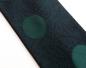 Vintage 60s Skinny Silk Tie Necktie Forest Spruce Green and Black Paisley Brocade with Polka Dots Circles Geometric