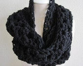 Handmade Crochet Infinity Scarf- You pick the color- Infinity Neck Warmer- Scarf- Cowl-Shell Stitch