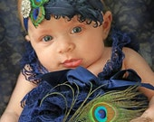 Navy Nagorie Curly Feather Peacock Headband...Headpiece...Newborn, Infant, Toddler, Girls, & Adult Sizes