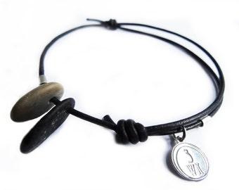 2 sea pebble bracelet, sterling silver 925 pendant on black leather cord