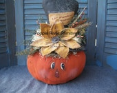 Primitive Pumpkin Centerpiece, Primitive Fall Decoration