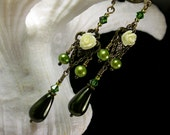 Ivory Rose Lime Green Pearl Victorian Earrings, Forest Green Pearl Edwardian Dangle Drops Antique Brass Filigree Titanic Temptations Jewelry