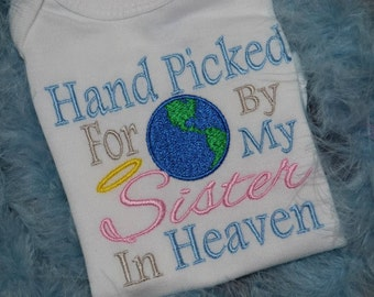 Hand picked for earth by my sister in heaven embroidered t-shirt