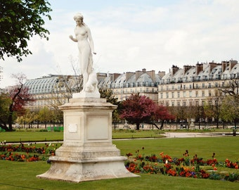 Paris Photography - Louvre Photography - Tuileries Gardens Photo - Tulips - Paris Photo - Paris Print - Paris Wall Art Female Statue